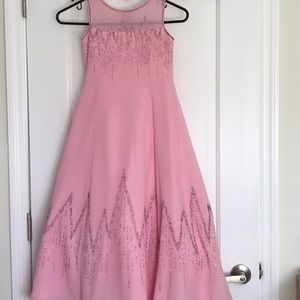 Girls Pink Beaded Dress with Scarf Size 6